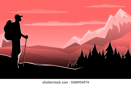 Retro vintage travel style poster of hiker looking at sunset sunrise over mountain range