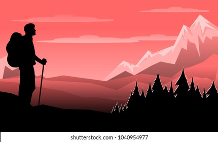 Retro vintage travel style poster of hiker looking at sunset sunrise
