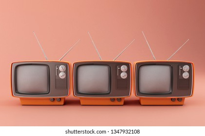 Retro vintage tv on pink background. 3D illustration.