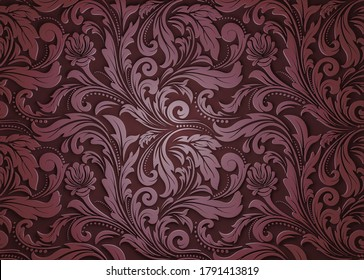 retro wallpaper and vintage pattern for fabric ornament or background ancient, filigree of antique leaf. 3d render