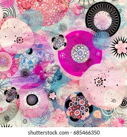 Retro watercolor aged abstraction with flowers and other elements