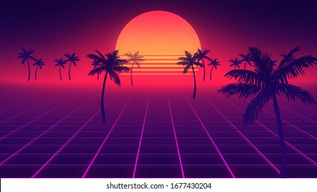 Retro wave horizon landscape illustration. Bright glowing neon lights. Synthwave wireframe net. Palm trees on front. Sunset on beach. 80s, 90s style. Retro Futurism Background. 3D Render. Perspective