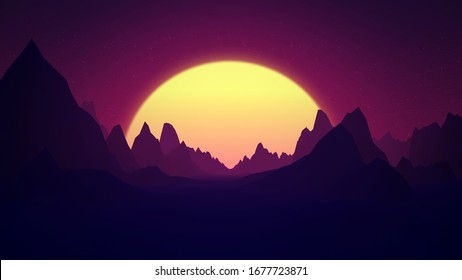 Retro wave or synthwave digital landscape with sunset and mountains. Bright glowing sun above horizon. Volumetric light. 80s, 90s Style. Retro futurism. 3D Render elements. Horizontal illustration