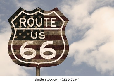 Retro weathered Route US 66 highway sign with USA flag with blue sky 3D Illustration