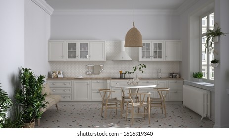 Retro white vintage kitchen with terrazzo marble floor and panoramic windows, dining room, round table with wooden chairs, potted plants, radiators, pendant lamp, cozy interior design, 3d illustration