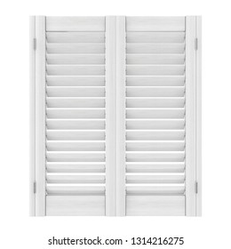 Retro White Wooden Window with Sutters Jalousie on a white background. 3d Rendering