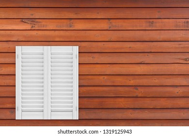 Retro White Wooden Window with Sutters Jalousie on a wooden plank wall background. 3d Rendering