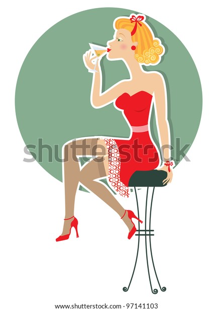Retro woman is sitting and drinking martini in red dress.Pin up style poster on white.Raster