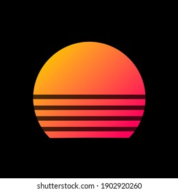 retrowave style, 80s, 90s, sun