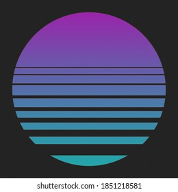 Retrowave Synthwave Outrun Retro Sunset Graphic, Pink Magenta and Blue Cyan Gradient with Black Background with Muted Noise Overlay