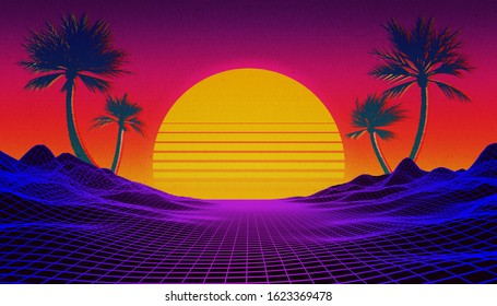 Retrowave, synthwave or vaporwave 80's landscape with neon light grid, sun and palm trees. Sci-fi, futuristic 3d rendering illustration with copy space for text.