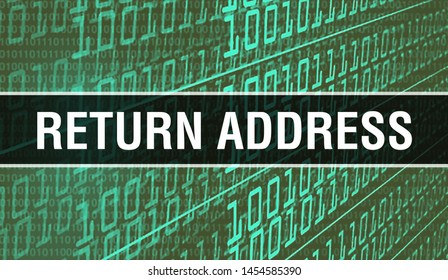 Return address with Binary code digital technology background. Abstract background with program code and Return address. Programming and coding technology background. Return address with Program
