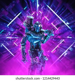 Return of the quantum warrior / 3D illustration of science fiction scene showing dark heavily armoured robot with battle hammer inside neon lit kaleidoscopic space ship corridor