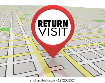 Return Visit Coming Back Again Map Pin Location Directions 3d Illustration
