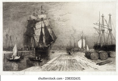 Return of the Whaler, etching with ships and dock, circa late 1800s.
