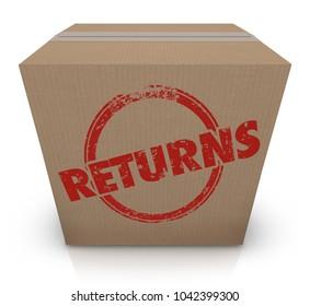Returns Sending Back Box Package Unwanted Delivery 3d Illustration