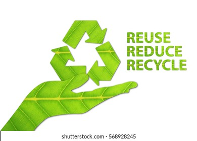 Reuse, Reduce, Recycle concept made from green leaf.
