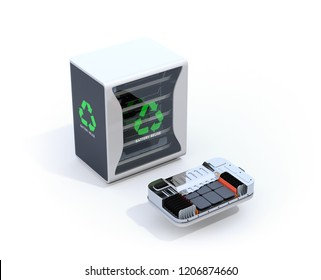 Reused electric vehicle batteries component system with EV battery package cutaway view. EV batteries recycle concept. 3D rendering image.