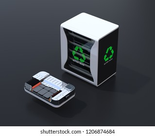 Reused electric vehicle batteries component system with EV battery package cutaway view. Black background. EV batteries recycle concept. 3D rendering image.