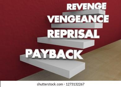 Revenge Vengeance Reprisal Payback Steps Words 3d Illustration