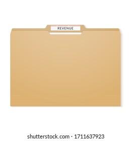 Revenue report binder. Manila folder papers archive