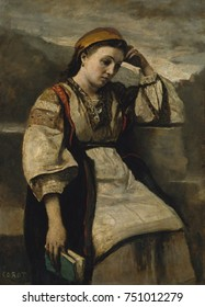 REVERIE, by Camille Corot, 1860-65, French painting, oil on wood. Corot posed working-class Parisian women in exotic costumes in his studio. The model has a natural placid face, holds a book, and is p