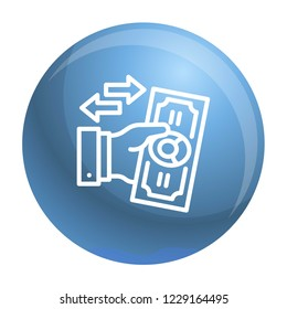 Reverse bribery icon. Outline reverse bribery icon for web design isolated on white background