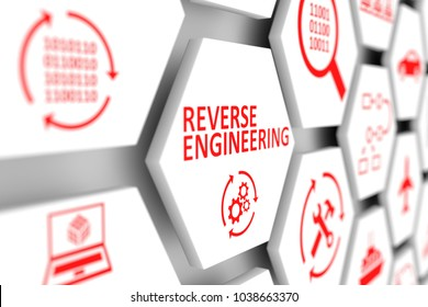 REVERSE ENGINEERING concept cell blurred background 3d illustration
