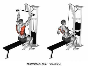Reverse grip lat pulldown. 3D illustration