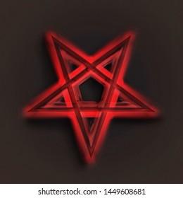 Reversed Pentagram symbol. Wiccan symbols- Cross of Sulfur.Blood red runic spell circle. Satanic sign, Magic casting ring. Pentalpha, Pentangle. 3d illustration.