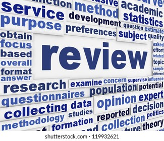 Review creative word clouds background. Data review scientific poster design