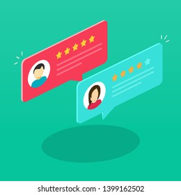 Review rating bubble speeches isometric illustration, flat cartoon reviews communication, concept of testimonial messages, notification alerts, feedback evaluation image