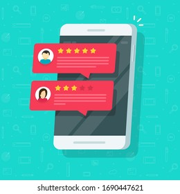 Reviews rating or reputation notices online on mobile phone or smartphone with testimonials feedback flat illustration, concept of customer experience on cellular cellphone modern design image