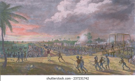 Revolting slaves lead by a man named Prince who is waving a black flag force the retreat of colonial soldiers, Demerara slave insurrection of August-September 1823.