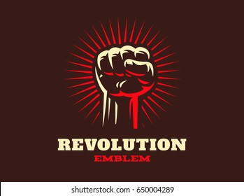 Revolution hand up emblem design illustration on dark background