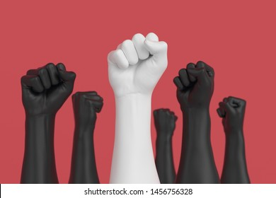 Revolution and leader concept, fist in the air, manifest background, 3d illustration