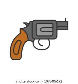 Revolver color icon. Pistol, gun. Firearm. Isolated raster illustration