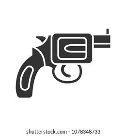 Revolver glyph icon. Pistol, gun. Silhouette symbol. Firearm. Negative space. Raster isolated illustration
