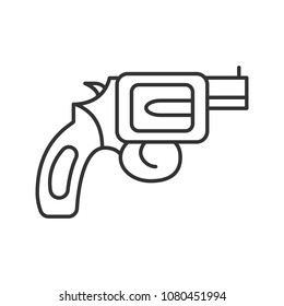 Revolver linear icon. Pistol, gun. Thin line illustration. Firearm. Contour symbol. Raster isolated outline drawing