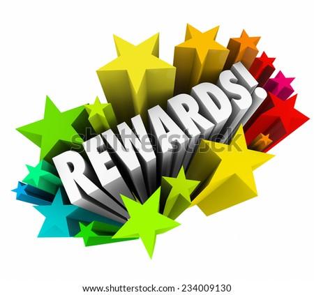 rewards word colorful stars illustrating rewardのイラスト素材