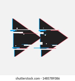 Rewind buttons in glitch style. Abstract minimal template design for branding. Modern background cover posters, banners, flyers, placards.