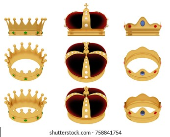 Reyes magos. Royal crown of three wise men. 3d render, 3d illustration
