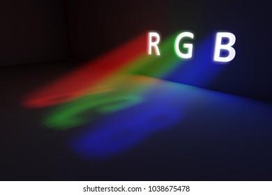 RGB concept volume light glow 3d illustration