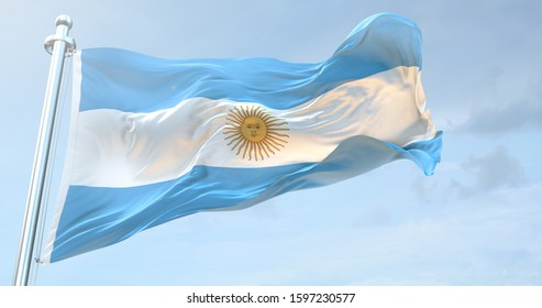 A rgentina national Flag textile cloth fabric waving on the top 3D Rendering - Illustration