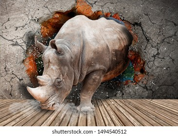 Rhino breaks the wall in the room. Photo wallpaper for walls. 3d rendering.