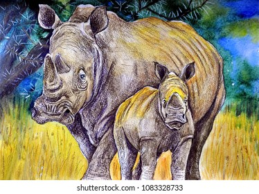 Rhino with a calf. Gouache on paper. Naive Art. Abstract art. Painting gouache, color pencil on paper. Children's creativity