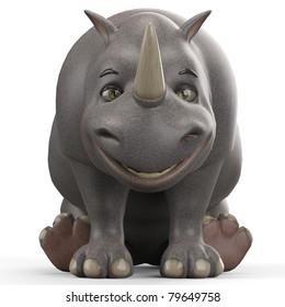 rhino cartoon sited down