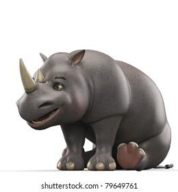 rhino cartoon sited down side view