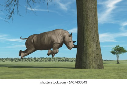 Rhino with the horn in the tree.