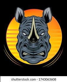 rhino logo design mascot with modern illustration concept style for badge, emblem and t shirt printing. angry rhinos illustration.